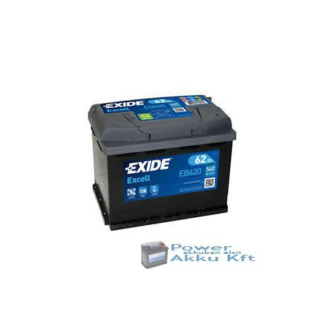 EXIDE Excell 12V 62Ah 540A Jobb+ EB620 Akkumulátor
