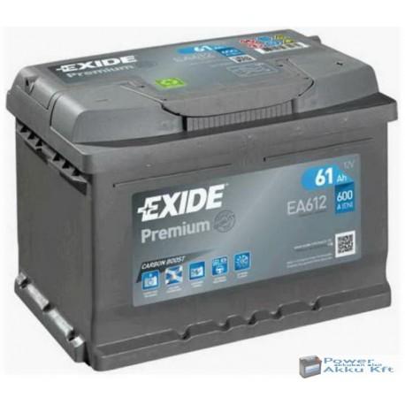 Exide Premium 12V 61Ah 600A jobb+ EA612 akkumulátor