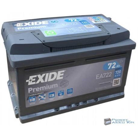 Exide Premium 12V 72Ah 720A jobb+ EA722 akkumulátor