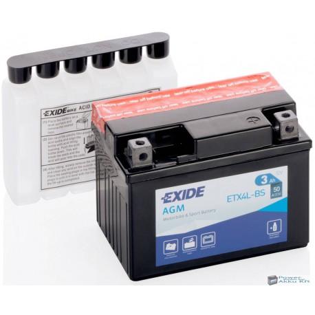 EXIDE ETX4L-BS 12V 3Ah jobb+ motorkerékpár akkumulátor