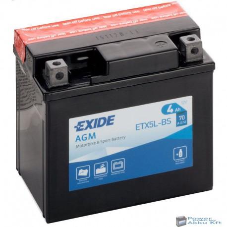 EXIDE ETX5L-BS 12V 4Ah jobb+ motorkerékpár akkumulátor
