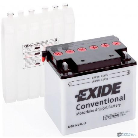 EXIDE E60-N24L-A 12V 28Ah 300A jobb+ motorkerékpár akkumulátor