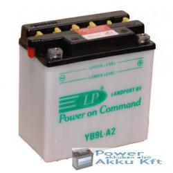 Landport YB9L-A2 12V 9Ah 100A jobb+ motorkerékpár akkumulátor