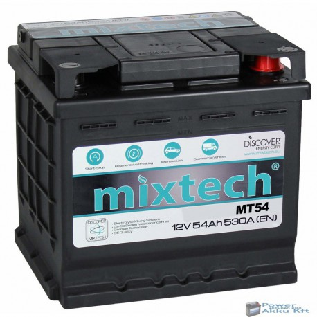 Mixtech 12V 54Ah 530A jobb+ akkumulátor