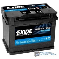 Exide AGM 12V 60Ah 680A jobb+ AGM600 akkumulátor