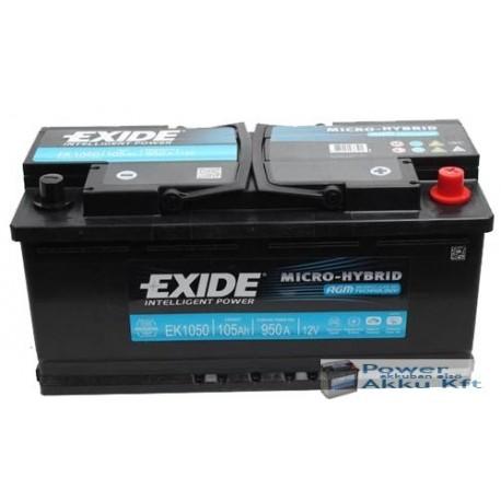 Exide AGM 12V 105Ah 950A jobb+ AGM1050 akkumulátor