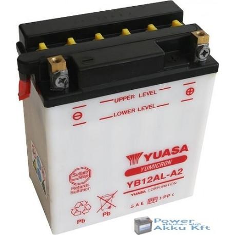 YUASA YB12AL-A2 12V 12Ah 150A jobb+ motorkerékpár akkumulátor