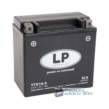 Landport YTX14-4 12V 12Ah 200A bal+ motorkerékpár akkumulátor