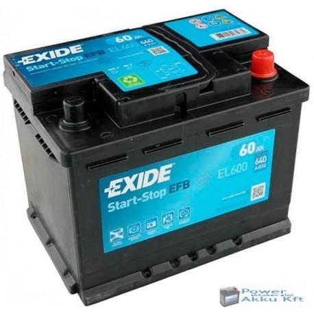 Exide EFB 12V 60Ah 640A jobb+ EL600 akkumulátor