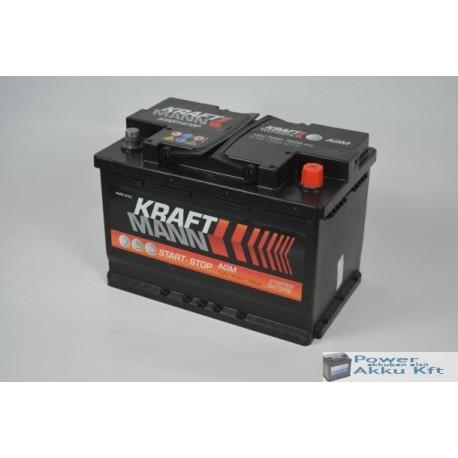 Kraftmann AGM - 12v 70ah - autó akkumulátor - jobb+